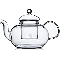 CnGlass Glass Teapot Stovetop Safe,Clear Teapot with Removable Infuser 600ML/20.3 oz,Loose Leaf and Blooming Tea Maker