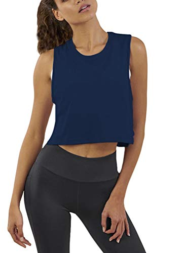 Mippo Women's Blue Crop Tank Top Sleeveless Performance Mesh Crop Tank Tops Loose Fit Flowy T-Shirt Gym Clothes for Women Navy Blue S