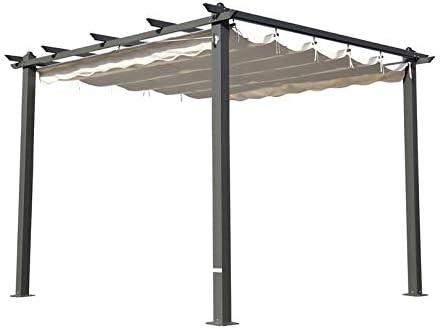 Outflexx Pergola gris aluminio, color crema, 300 x 300 x 20 cm