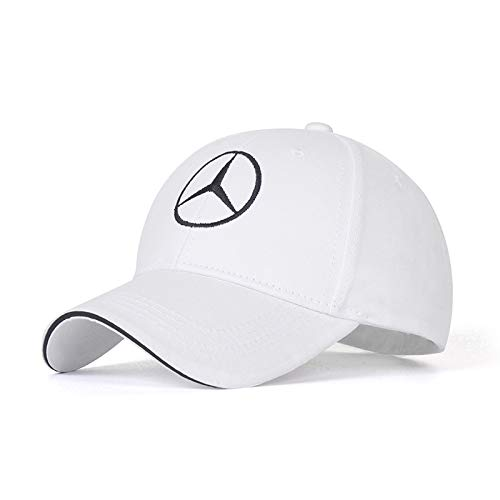 cars Logo Embroidered White Color Adjustable Baseball Caps for Men and Women Hat Travel Cap Racing Motor Hat (fit Benz)