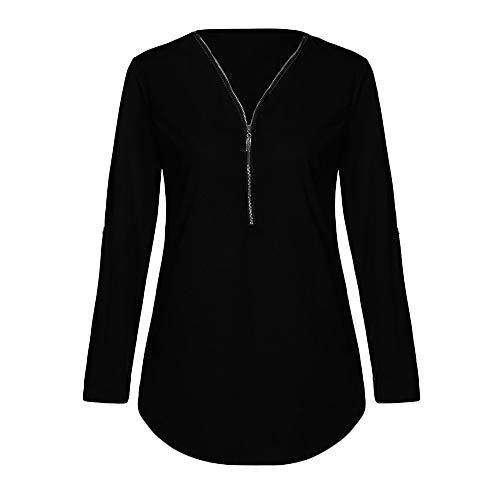 Tops Manches Femme Unie Grande Chemisiers et Weant V Blouse Longues Col Taille Pure Couleur Blouses Chemisier Noir Couleur Shirt Blouse Casual Femme 5wRSqRxz