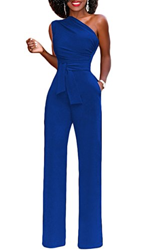 onlypuff Swexy Off The Shoulder Jumpsuits and Rompers for Women Solid Long Pants with Belt Royal Blue Large -
