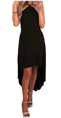 Coolred-femmes Épaule Irrégulière Au Large Lacées Silm Solide Robes Milieu De Ceinture Noire