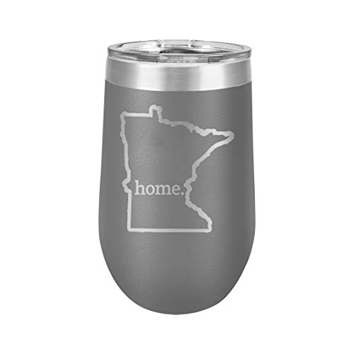 Minnesota Home Outline US State United States - Polar Camel 16 oz. Vacuum Insulated Stemless Tumbler w/Lid (Dark Grey)
