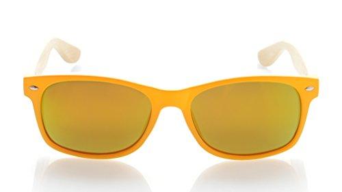 Hombre Gafas Eyekepper Brazo de Madera Bambú Amarillo Sol Marco Espejo de para de con Rojo Polarizadas Clásicas 4Hqq7rdF