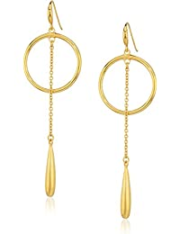 """Gold Rush"" Teardrop Drop Hoop Earrings"