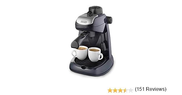 Delonghi EC7 - Cafetera hidropresión, 800 w, variedad cafés, 2 tazas, tapa seguridad, sistema capuccino, negro y plata: Amazon.es: Hogar
