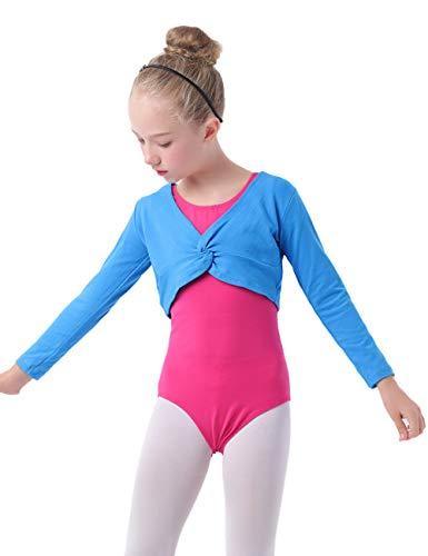 Daydance Toddler Dance Crop Tops Ballet Wrap Shrug Sweater Long Sleeve Blue ()