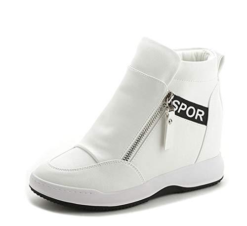 (DETAIWIN Women PU Leather Walking Shoes Waterproof Slip On Comfort Zip Casual Hidden Wedges High Top Sneakers)