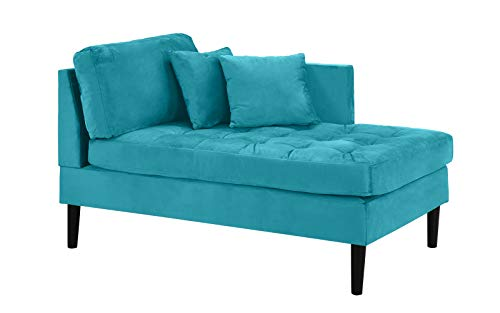 Chaise Lounge Indoor Chair Tufted Velvet Fabric (with 2 Accent Pillows), Modern Mid Century Plush Chaise Lounger for Office | Living Room or in Small Space Home Furniture, Sky Blue