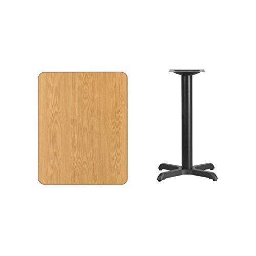 Flash Furniture 24'' x 30'' Rectangular Natural Laminate Table Top with 22'' x 22'' Table Height Base by Flash Furniture