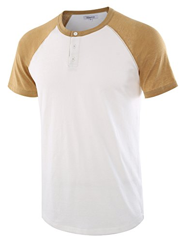 (Vetemin Men's Casual Short Sleeve Raglan Henley T-Shirts Baseball Shirts Tee White/Khaki M)
