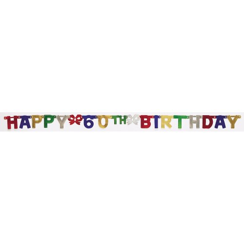 Creative Converting Party Decoration Jointed Banner, Happy 60th Birthday, (Happy Halloween Birthday Wishes)