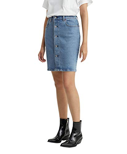 Gonna Donna Levi's Mom Blu Button Skirt Thru I166UXwx