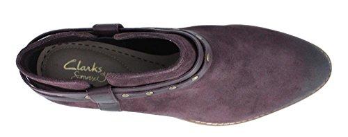 Clarks Women's Breccan Shine Ankle Boot,Aubergine Suede,US 7.5 M