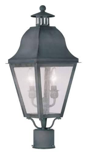 Livex Lighting 2552-61 Amwell 2-Light Outdoor Post Head, (Post Mounted Charcoal)