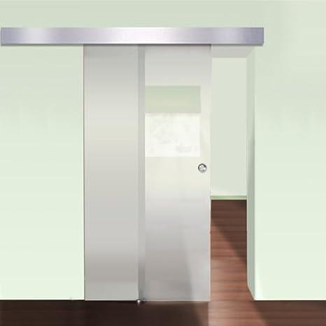 Puerta de cristal Correderas de cristal para puerta cubierta de aluminio 205 x 77,5 cm: Amazon.es: Hogar