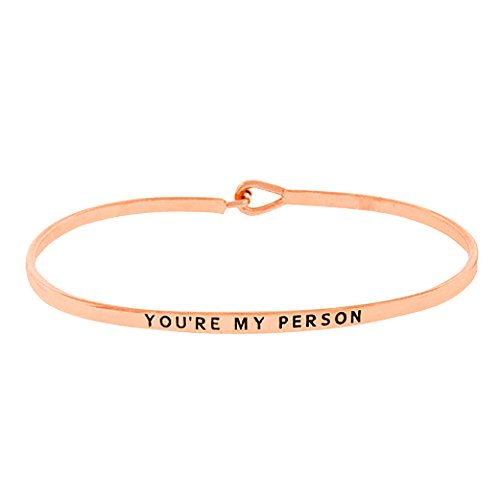 Rosemarie Collections Womens Thin Metal Bangle Bracelet  Youre My Person   Rose Gold