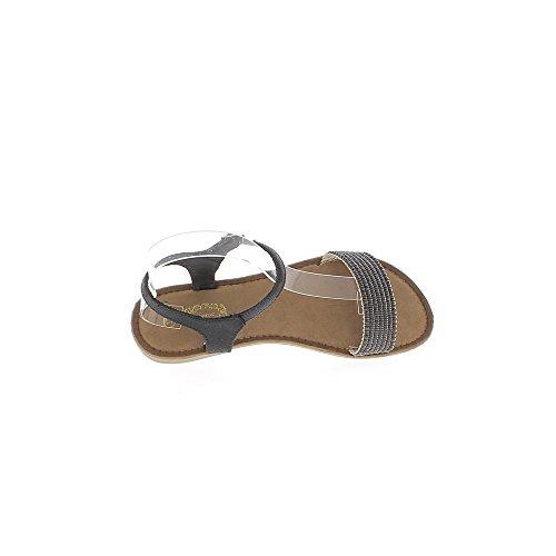 Nero metallizzato sandali flat con flangia anteriore largo