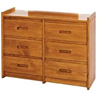 Chelsea Home Furniture 360066 6 Drawer Dresser with Recessed Handles, Honey Finish