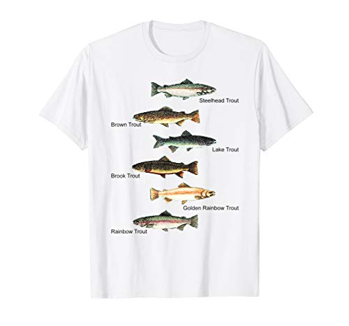 Types of Trout Fish Species Collection Fishing T-shirt