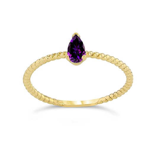 Dainty 10k Yellow Gold Solitaire Amethyst Pear-Shaped Modern Engagement Rope Ring (Size 9)
