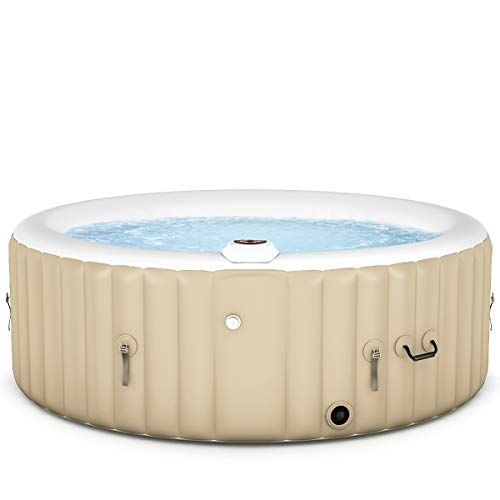 (Goplus 4-6 Person Outdoor Spa Inflatable Hot Tub for Portable Jets Bubble Massage Relaxing w/Accessories Set (4 Person, White))
