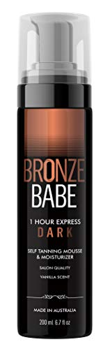 Bronze Babe 1 Hour Dark Moisturizing Self Tanning Mousse and Sunless Tanner For Fair to Medium Skin Tones Salon Quality Vanilla Scented (200 ml/ 6.7 oz)
