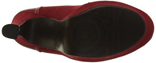 Mocassins rouges bi matière à talons de 13,5cm et plateau