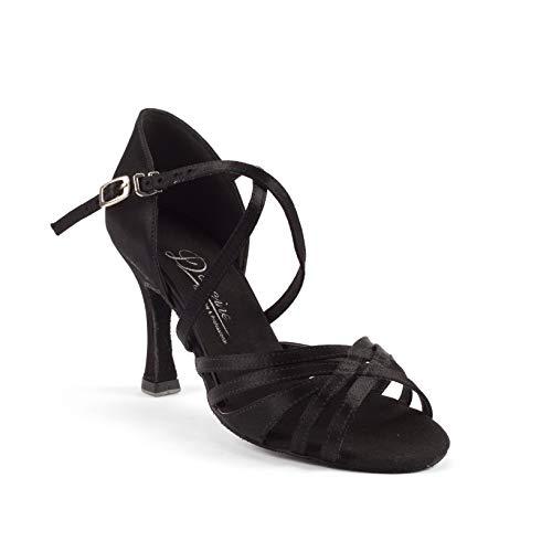 Dancine Ballroom Latin Social Salsa Tango Dance Shoes,Double-Layer Heel Tip,Premium Satin,Four Styles (7.5 B(M) US, Fay Black)