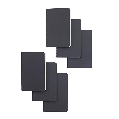 Softcover Pocket Notebook Set - 90 millimeters by 140 millimeters - 6 Pack - 30 Sheets - 60 Blank Pages - Perfect for the Traveler or Author