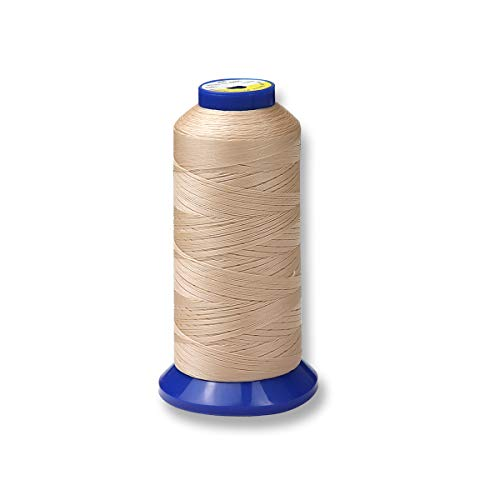 Bonded Nylon Thread for Upholstery, Leather, Jeans and Weaving Hair; Heavy-Duty; #69 T70 Size 210D/3 1400 Yards (Beige)