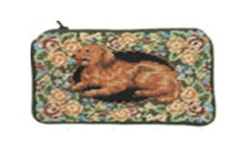 Petit Point Purse - 123 Creations C498CC-4.5x7 in. B-Floral Golden Retriever Petit-point Cosmetic Purse