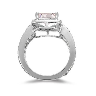 1.00 Ct Diamond & 2.65 Cts of 10x8 mm AAA Morganite Ring in 14K White Gold