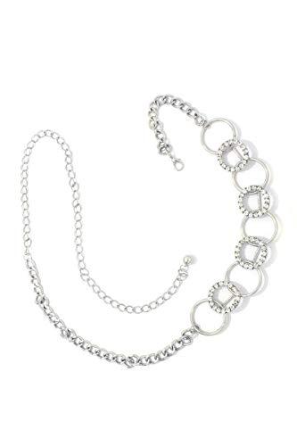 Rhinestone Metal Ring Linked Metal Chain - Chain Linked Belt