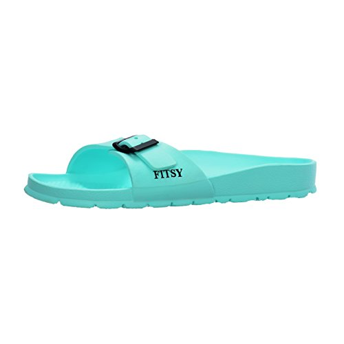 Womens Holiday Sandals (FITSY Micah Women's Single Band Open Toe Adjustable Buckle Strap Slide Sandals Slip-On Summer Holiday Indoor/Outdoor Gym Shower Garden Anti-Slip Pool Beach Slippers (US 9, EU 40, UK 7, Mint, L))