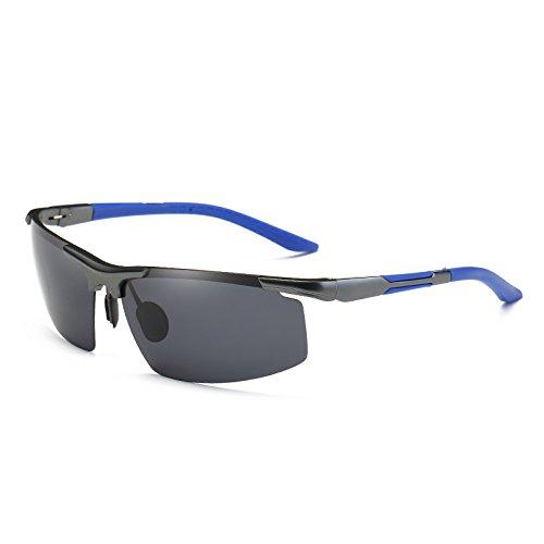 gafas la sesgada Frame de Oculos aluminio TIANLIANG04 para azul anteojos Blue sin plateado gafas Marco UV400 polarizadas guía sol reborde de de Grey moda Mens wwq48ga