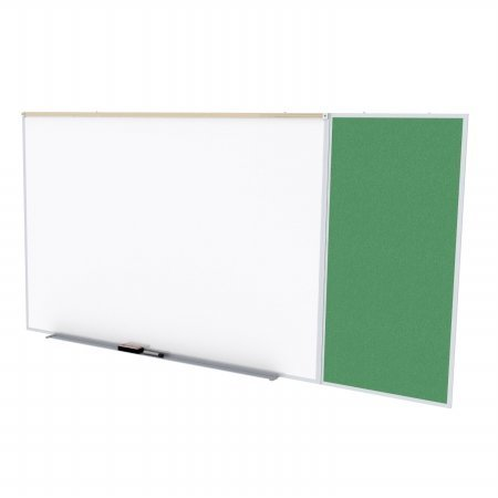 Ghent SPC416C-V-197 4 ft. x 16 ft. Style C Combination Unit - Porcelain Magnetic Whiteboard and Vinyl Fabric Tackboard - Spruce by Ghent