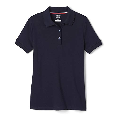 French Toast Big Girls' Short Sleeve Interlock Polo with Picot Collar, Navy, Large/10/12