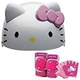 Hello Kitty Kids Skate/Bike Helmet Pads & Gloves - 7 Piece Set