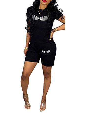 Remelon Women Short Sleeve Sequin Eyes Patchwork T Shirt Top Bodycon Pockets Shorts Set 2 Piece Romper Outfits Tracksuits Black L
