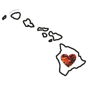 Heart in Hawaii Sticker Vinyl Decal Label Stickers, Die-Cut Shape for Water Bottle Laptop Luggage Bike Laptop Car Bumper Helmet Waterproof Show Love Pride Local Lava 808 Maui Ohau Island HI