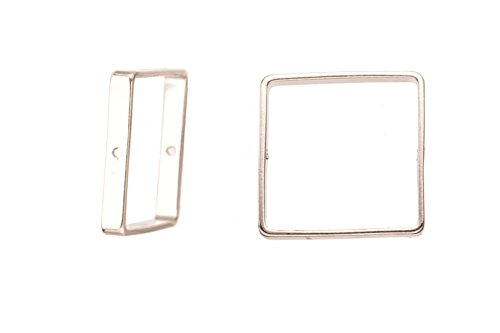 Bead Frame, Silver-Finished Brass Square Frame 20x20mm, fits Up To 18mm Square Beads Sold per 10pcs/pack (2pack bundle), SAVE $1