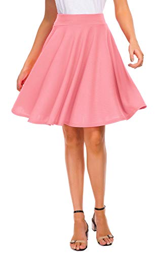 EXCHIC Women's Basic Skirt A-Line Midi Dress Casual Stretchy Skater Skirt Halloween Costumes (M, Pink) -