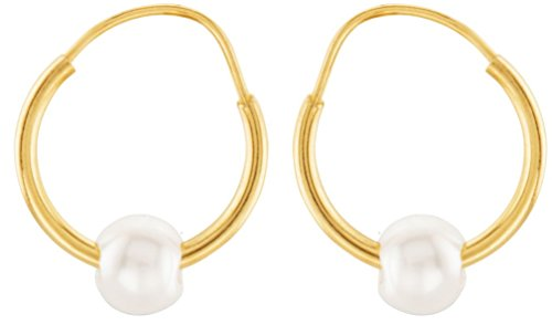 Girl's White Cultured Freshwater Pearl 14k Yellow Gold Earrings, (4.07MM) by The Men's Jewelry Store (for KIDS)