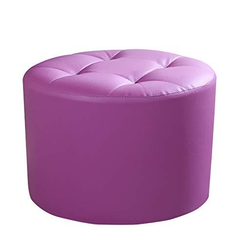 SZQL Pouf Footstool, Tufted Faux Leather,Ottoman Foam Seat-Round Leather Foot Rests-Purple (Purple Pouf Ottoman)