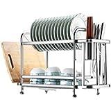 Escurridor de trastes de 58 cm, 2 niveles, superior para platos, inferior para vasos, escurridor de platos, escurridor para p