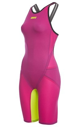 Arena Women's Limited Edition Powerskin Carbon Flex VX Open Back Tech Suit Swimsuit,Fuchsia/Fluorescent Yellow (983),26 by Arena Championship Suits