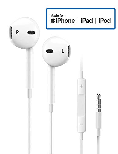 Earbuds/Earphones/Headphones, 3.5mm in-Ear Wired Earphones with Remote & Mic Compatible Apple iPhone 6S Plus SE 5S 5C Android MP3/4 and More