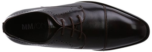 Mm / One Mens Oxford Lace-up Straight Tip Schoenen Medaillon Zwart Bruin Donkerbruin Donkerbruin
